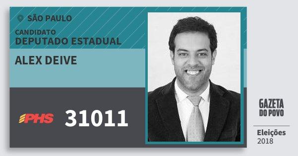Santinho Alex Deive 31011 (PHS) Deputado Estadual | São Paulo | Eleições 2018