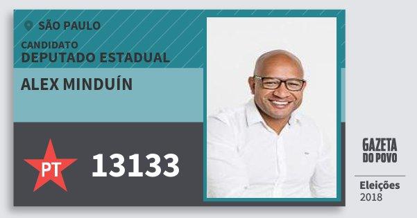 Santinho Alex Minduín 13133 (PT) Deputado Estadual | São Paulo | Eleições 2018