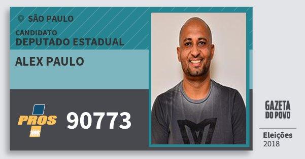 Santinho Alex Paulo 90773 (PROS) Deputado Estadual | São Paulo | Eleições 2018