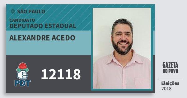 Santinho Alexandre Acedo 12118 (PDT) Deputado Estadual | São Paulo | Eleições 2018