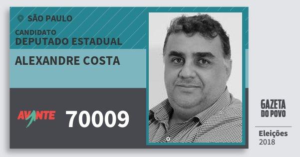 Santinho Alexandre Costa 70009 (AVANTE) Deputado Estadual | São Paulo | Eleições 2018