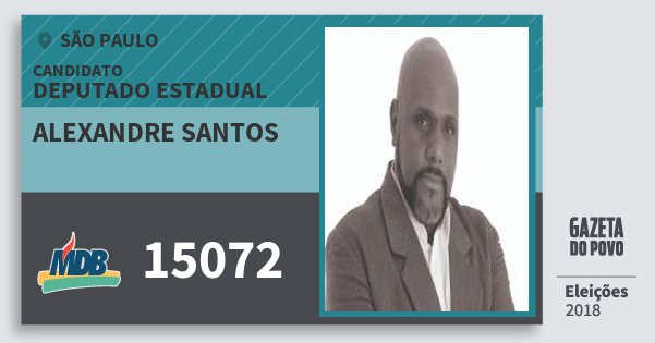 Santinho Alexandre Santos 15072 (MDB) Deputado Estadual | São Paulo | Eleições 2018