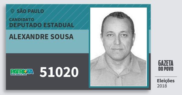 Santinho Alexandre Sousa 51020 (PATRI) Deputado Estadual | São Paulo | Eleições 2018