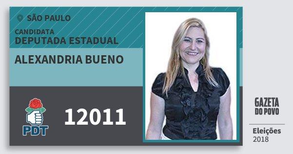 Santinho Alexandria Bueno 12011 (PDT) Deputada Estadual | São Paulo | Eleições 2018