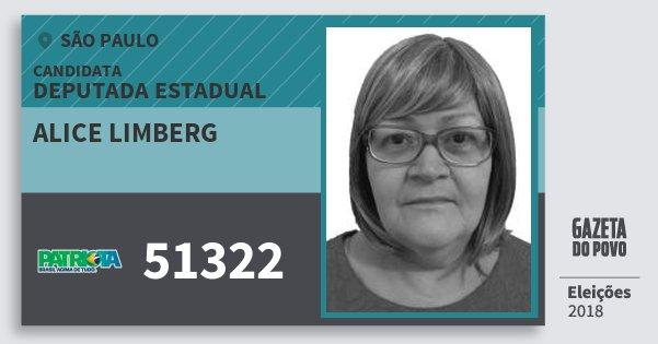 Santinho Alice Limberg 51322 (PATRI) Deputada Estadual | São Paulo | Eleições 2018