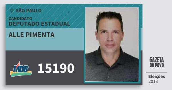 Santinho Alle Pimenta 15190 (MDB) Deputado Estadual | São Paulo | Eleições 2018