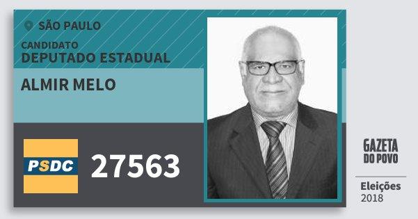 Santinho Almir Melo 27563 (DC) Deputado Estadual | São Paulo | Eleições 2018