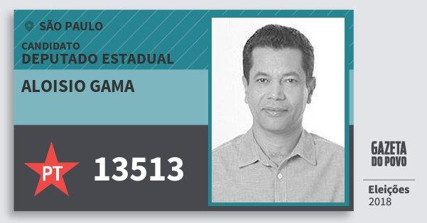 Santinho Aloisio Gama 13513 (PT) Deputado Estadual | São Paulo | Eleições 2018