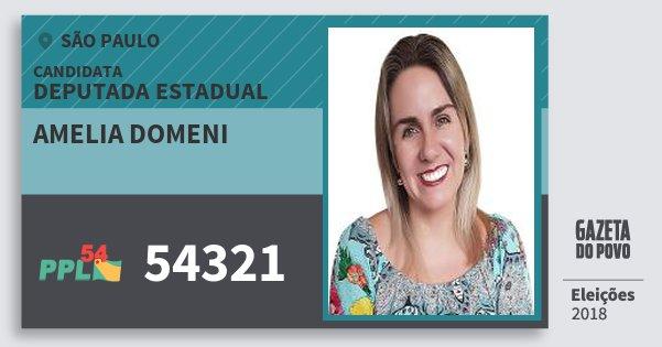 Santinho Amelia Domeni 54321 (PPL) Deputada Estadual | São Paulo | Eleições 2018