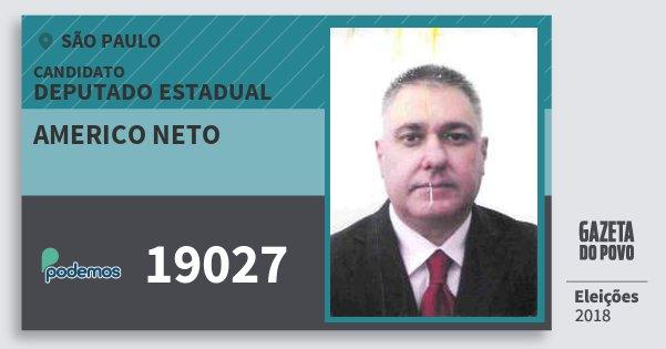 Santinho Americo Neto 19027 (PODE) Deputado Estadual | São Paulo | Eleições 2018