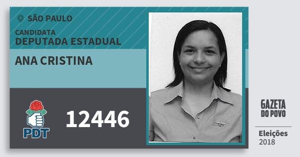 Santinho Ana Cristina 12446 (PDT) Deputada Estadual | São Paulo | Eleições 2018