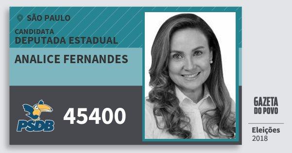 Santinho Analice Fernandes 45400 (PSDB) Deputada Estadual | São Paulo | Eleições 2018