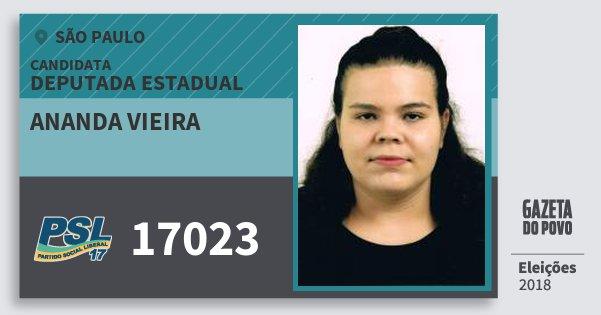 Santinho Ananda Vieira 17023 (PSL) Deputada Estadual | São Paulo | Eleições 2018