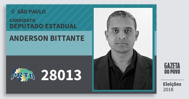 Santinho Anderson Bittante 28013 (PRTB) Deputado Estadual | São Paulo | Eleições 2018