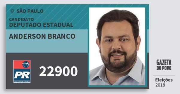 Santinho Anderson Branco 22900 (PR) Deputado Estadual | São Paulo | Eleições 2018