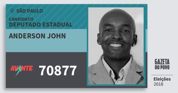 Santinho Anderson John 70877 (AVANTE) Deputado Estadual   São Paulo   Eleições 2018