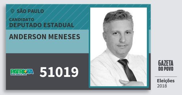 Santinho Anderson Meneses 51019 (PATRI) Deputado Estadual | São Paulo | Eleições 2018