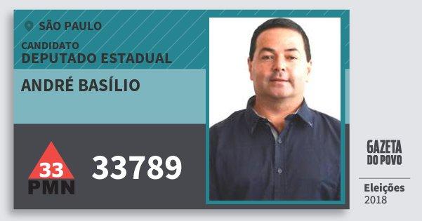 Santinho André Basílio 33789 (PMN) Deputado Estadual | São Paulo | Eleições 2018