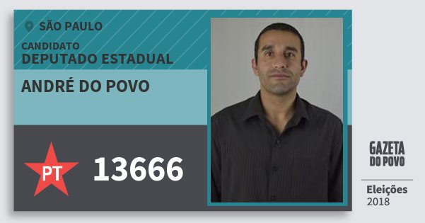 Santinho André do Povo 13666 (PT) Deputado Estadual | São Paulo | Eleições 2018