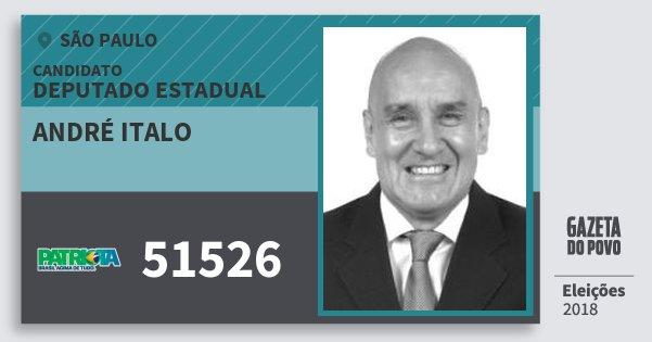 Santinho André Italo 51526 (PATRI) Deputado Estadual | São Paulo | Eleições 2018