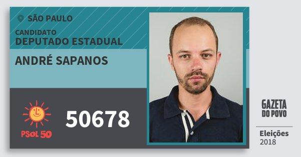 Santinho André Sapanos 50678 (PSOL) Deputado Estadual | São Paulo | Eleições 2018