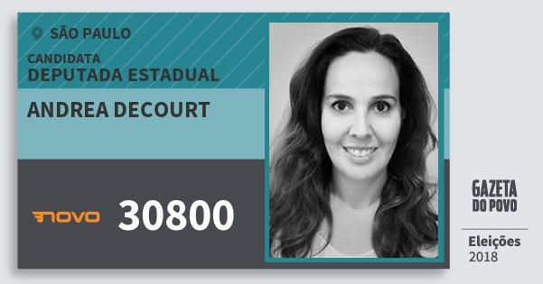 Santinho Andrea Decourt 30800 (NOVO) Deputada Estadual | São Paulo | Eleições 2018