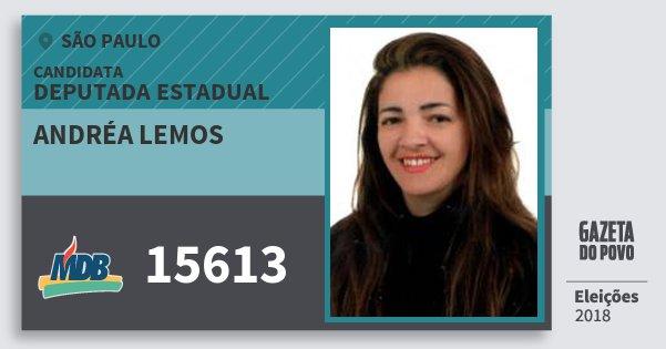 Santinho Andréa Lemos 15613 (MDB) Deputada Estadual | São Paulo | Eleições 2018