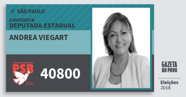 Santinho Andrea Viegart 40800 (PSB) Deputada Estadual | São Paulo | Eleições 2018