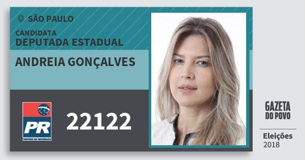 Santinho Andreia Gonçalves 22122 (PR) Deputada Estadual | São Paulo | Eleições 2018