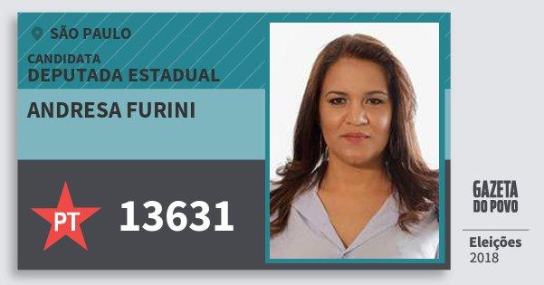 Santinho Andresa Furini 13631 (PT) Deputada Estadual | São Paulo | Eleições 2018