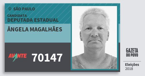 Santinho Ângela Magalhães 70147 (AVANTE) Deputada Estadual | São Paulo | Eleições 2018