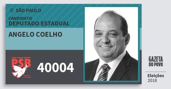 Santinho Angelo Coelho 40004 (PSB) Deputado Estadual | São Paulo | Eleições 2018