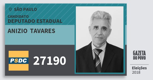 Santinho Anizio  Tavares 27190 (DC) Deputado Estadual | São Paulo | Eleições 2018