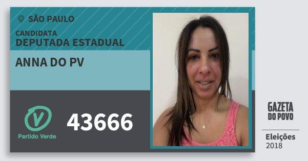 Santinho Anna do Pv 43666 (PV) Deputada Estadual | São Paulo | Eleições 2018