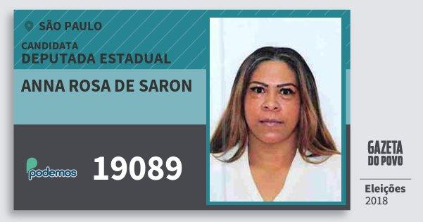 Santinho Anna Rosa de Saron 19089 (PODE) Deputada Estadual | São Paulo | Eleições 2018
