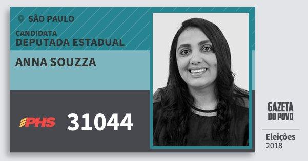 Santinho Anna Souzza 31044 (PHS) Deputada Estadual | São Paulo | Eleições 2018