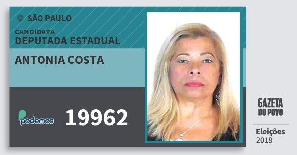 Santinho Antonia Costa 19962 (PODE) Deputada Estadual | São Paulo | Eleições 2018