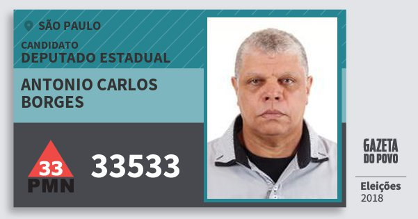 Santinho Antonio Carlos Borges 33533 (PMN) Deputado Estadual   São Paulo   Eleições 2018