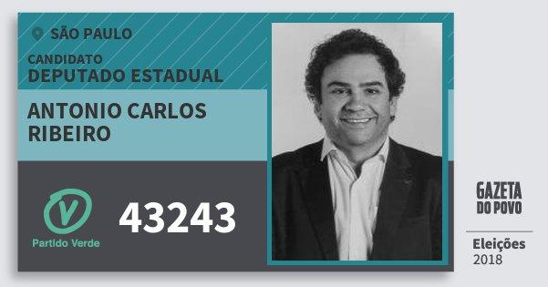 Santinho Antonio Carlos Ribeiro 43243 (PV) Deputado Estadual | São Paulo | Eleições 2018