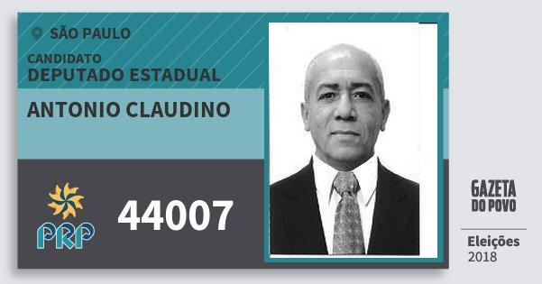 Santinho Antonio Claudino 44007 (PRP) Deputado Estadual | São Paulo | Eleições 2018