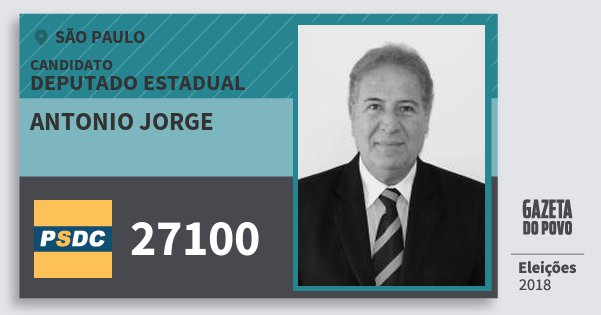 Santinho Antonio Jorge 27100 (DC) Deputado Estadual | São Paulo | Eleições 2018