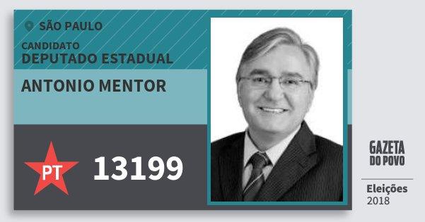 Santinho Antonio Mentor 13199 (PT) Deputado Estadual   São Paulo   Eleições 2018