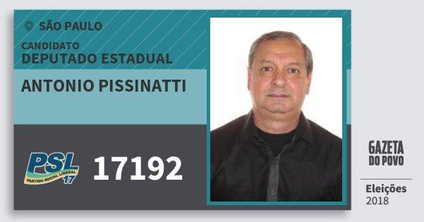 Santinho Antonio Pissinatti 17192 (PSL) Deputado Estadual | São Paulo | Eleições 2018