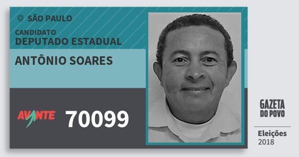 Santinho Antônio Soares 70099 (AVANTE) Deputado Estadual | São Paulo | Eleições 2018