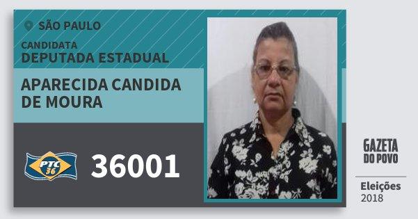 Santinho Aparecida Candida de Moura 36001 (PTC) Deputada Estadual | São Paulo | Eleições 2018