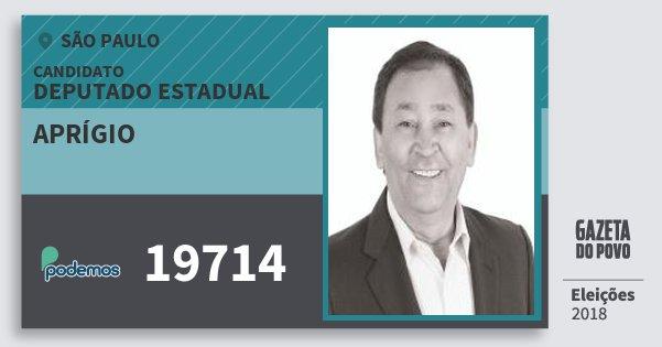 Santinho Aprígio 19714 (PODE) Deputado Estadual | São Paulo | Eleições 2018