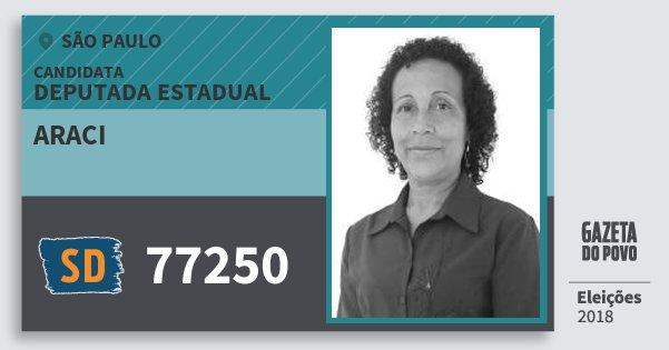 Santinho Araci 77250 (SOLIDARIEDADE) Deputada Estadual | São Paulo | Eleições 2018