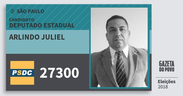 Santinho Arlindo Juliel 27300 (DC) Deputado Estadual | São Paulo | Eleições 2018