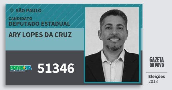 Santinho Ary Lopes da Cruz 51346 (PATRI) Deputado Estadual | São Paulo | Eleições 2018