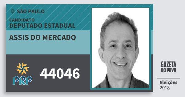 Santinho Assis do Mercado 44046 (PRP) Deputado Estadual | São Paulo | Eleições 2018